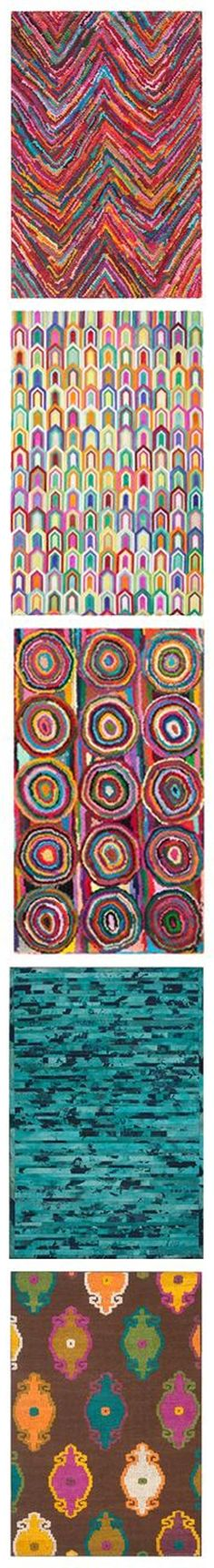 Cool rugs! But I am thinking how cool placemats would be -- made with beads in the pattern on the top. They would sound great! *tinkle tinkle* And feel so good when you held them.