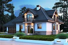 House design with an attic Śnieżka K with an area with a spacious garage, . Home Building Design, Home Design Plans, Building A House, Indian Home Design, House Outside Design, Log Home Interiors, Modern Bungalow House, Modern Villa Design, Modern Rustic Homes