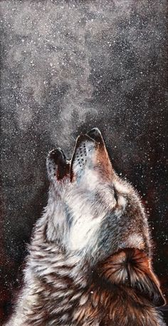 Every breath I take - Beautiful pastel painting of a howling wolf by Peter Williams