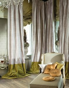 Silk thistle purple curtains with wide olive green banding along the bottom edge.