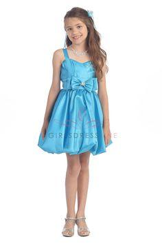 Turquoise Poly Taffeta Stylish Girl Dress   flower girls dresses ...