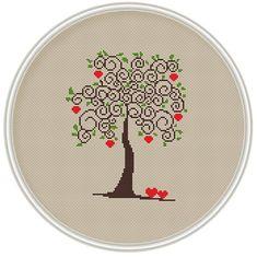 Love tree cross stitch pattern, Instant Download, Free shipping, Cross-Stitch PDF, Apple tree, Valentine's Day, MCS089
