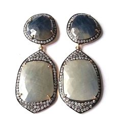 FREE SHIPPING 925 SOLID STERLING SILVER NATURAL BLUE AND GREY SAPPHIRE EARRING #SilvexStore #DropDangle