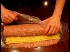 ▶ Мясной рулет с макаронами и сыром - YouTube