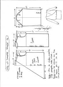 Esquema de modelagem de blusa transpassada tamanho 46.