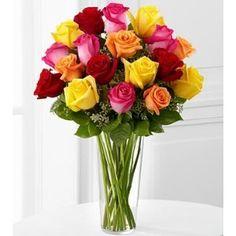 Bright Spark Rose Bouquet - 18 Stems - Valentine's Day Flowers