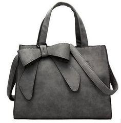 915ea62fd085 Leather Bow Design Messenger Shoulder Handbag Women s Handbags