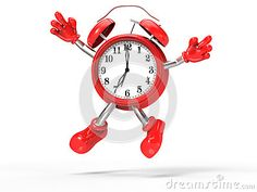 Character alarm clock jump,  on white background