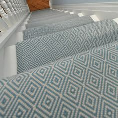 Pretty Painted Stairs Ideas to Inspire your Home stair carpet runner (stairs painted ideas) Tags: carpet stair treads, striped stair carpet, stair carpet ideas stair+carpet+ideas+staircase Grey Stair Carpet, Hallway Carpet, Carpet Stair Treads, Blue Carpet, Striped Carpet Stairs, White Carpet, Wool Carpet, Painted Staircases, Painted Stairs