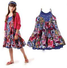 Retail-Brand Girl Floral Dress Color Blue Cotton Flower Princess Sling Children Dresses Baby Wear, Free Shipping $19.00