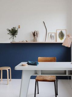 Blue Half Painted Walls in children's rooms Half Painted Walls, Half Walls, Estilo Interior, Interior Styling, Home And Living, Living Room, Blue Walls, New Room, Office Interiors