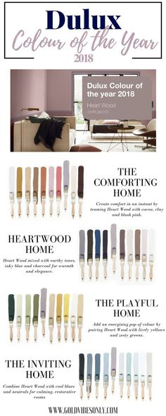 goldvibesonly HEART WOOD | HOW TO STYLE DULUX COLOUR OF THE YEAR 2018 interior d Dulux Paint Colours 2018, Dulux Bedroom Colours, Colour Palette 2018, 2018 Colour Trends, Dulux Grey Paint, Dulux Blue, Dulux White, Nursery Colours, Grey Palette