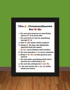 The Ten Commandments for Kids - Exodus 20 - Teaching Printable