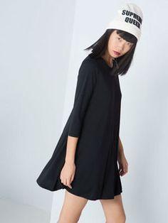 robe noire à manches longues de bershka