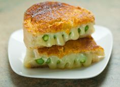 Grilled Cheese - Havarti Cheese, asparagus, white bread, and sriracha butter