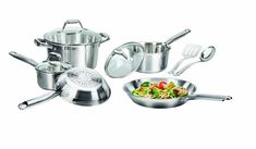 T-fal C811SA Elegance Stainless Steel Cookware Set, 10-Piece, Silver ** To view further for this item, visit the image link.