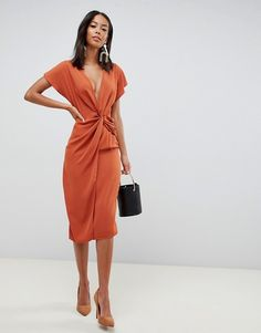 Browse online for the newest ASOS DESIGN Tall twist midi dress with kimono sleeve styles. Shop easier with ASOS' multiple payments and return options (Ts&Cs apply). Orange Midi Dress, Burnt Orange Dress, Asos, Style Bobo Chic, Discount Womens Clothing, Womens Dress Suits, Mode Top, Bridesmaid Dress Colors, Robes Midi