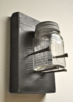 Reclaimed Wood Square Nail and Antique Mason Jar by NaptimeDIYer, $20.00