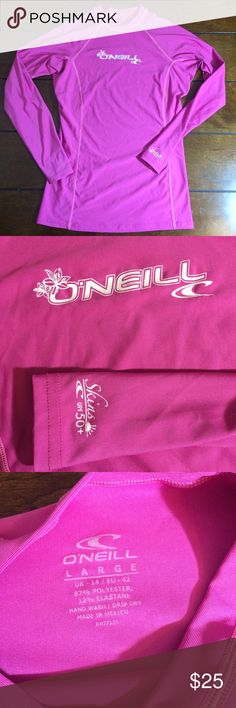 O'niell Rashguard Woman's size large pink Rashguard. Euc. 18 inches flat across arm pit to armpit. O'Neill Swim Coverups