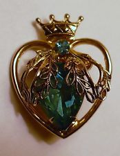 Vintagw Coro Heart - Crown Pin - Blue Rhinestones