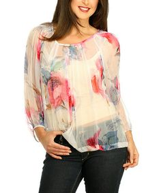 Look at this #zulilyfind! Pink Rose Floral Sheer Pleated Button-Up Top #zulilyfinds