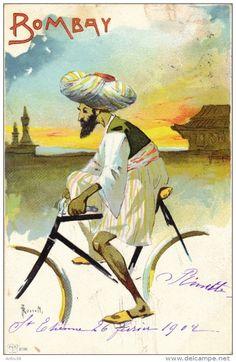 Illustrateur ROSSETTI - L´histoire De La Bicyclette Dans Le Monde - Bombay