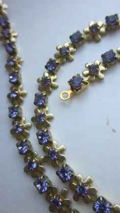 81e82a811efd Vintage lavender Blue Daisy Chain With Rhinestones