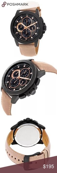 Michael Kors ryker black face tan leather watch Authentic. Brand new, in original Michael Kors box with $275 tag! Genuine tan leather with a black face and awesome detailing throughout. Adjustable wristband. Michael Kors ryker black face tan leather watch. Michael Kors Accessories Watches