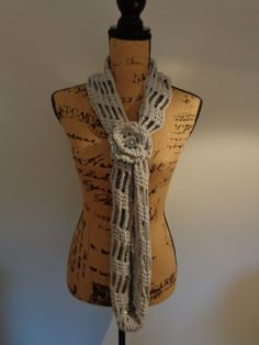 Shoots and Ladders Infinity Scarf/Cowl with Button Cuff and Flower by IdleHandsCrochetKnit on Etsy
