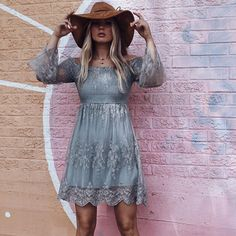 Let Me Be Yours dress + Brown floppy from our new new // link above  #amazinglace