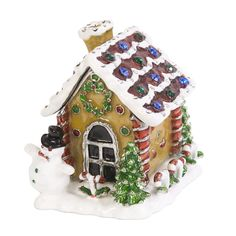 Gingerbread House Trinket Box, Silver