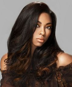 Beautiful straight hairstyle with light brown ombre colouring