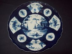 RARE 18th C WORCESTER POWDER BLUE FAN PANELLED LANDSCAPE 1770 PLATE DISH BOWL #2 in Pottery, Porcelain & Glass, Date-Lined Ceramics, Pre-c.1840 | eBay!