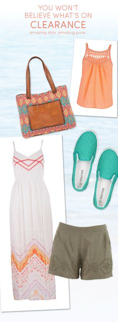 Shop our wide Summer collection at a great price! Beach bags, maxi dresses, slip-on shoes, camis- in sizes regular & plus! Only at maurices <3