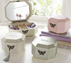 Gem Jewelry Box Collection The white is beautiful and would look nice with your antique pieces in Katy's room