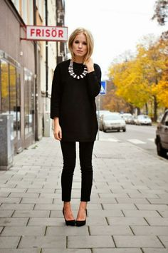 One of my all time favorite looks! All black with big chunky statement necklace, it always makes for chic and trendy look!