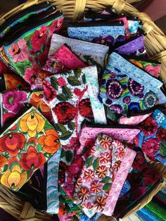 Purses in a Mexican market, embroidery made in Chiapas Mexico