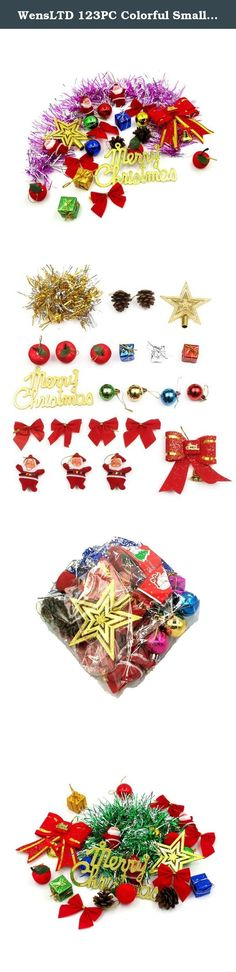 WensLTD 123PC Colorful Small Pendant Santa Gift Box Ball Christmas Tree Ornaments (Multicolor). 100% brand new and high quality. Material: PVC A lot of Christmas packages are packed in a bag with 23 ornaments inside. You can use all these ornaments to decorate plants at home, or a small Christmas tree in the height of 30cm to 70cm (11.81 to 27.56 in ). 1 * Tree top star. (10 cm / 3.94 in ) 1 * Bow tie.(10 cm / 3.94 in ) 3 * Small colored Santa Claus 4 * Shining ball (3 cm / 1.18 in)…