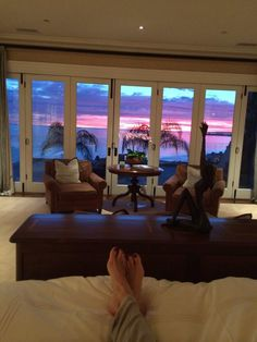 a view from bed... David and Yolanda Foster's bedroom actually.. be inspired..
