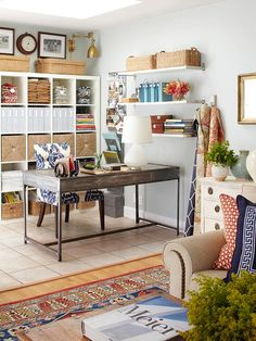 "Love this look... it's workable- not too office-y and clean but looks like it is actually ""working"" too. office spaces, living rooms, living spaces, organizing office, wall shelves, desk, home offices, workspac, craft rooms"