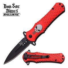DARK SIDE BLADES RED PUNISHER SPRING ASSISTED KNIFE