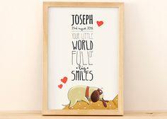 Personalized illustration for newborn baby's room - newborn dog model de NoninaShop en Etsy