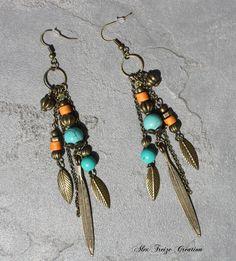 Bijou Créateur - Boucles d'oreilles pendantes bronze Pampilles longues breloques plumes et Perles semi-précieuses Turquoise et orange : Boucles d'oreille par alextreize-creation