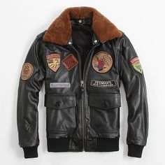 Find More Leather & Suede Information about Men's Leather Jacket Flight Suit…