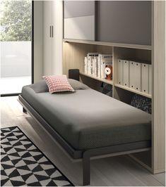 Space Saving Beds, Space Saving Furniture, Horizontal Murphy Bed, Bed Frame Design, Multipurpose Furniture, Hidden Bed, Bed Table, Home Office Design, Apartment Design
