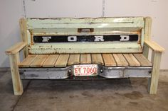 70's Ford Patina Tailgate Bench by TailgateGuy on Etsy