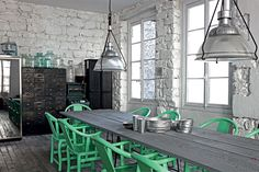 industrial lights and mint chairs