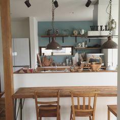 部屋全体/キッチンカウンターDIY/アクセント壁/ブルーグレーの壁/カラーワークス…などのインテリア実例 - 2015-07-07 09:18:40   RoomClip(ルームクリップ)
