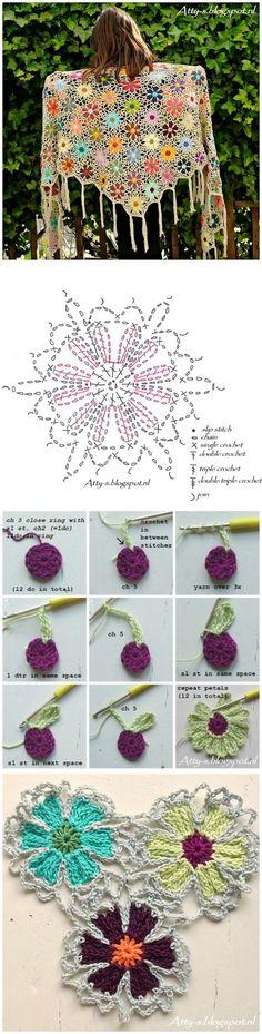 Multicolored crochet wool swea