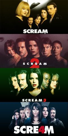 Wes Craven's Scream franchise starring Drew Barrymore, Courteney Cox, David Arquette, Neve Campbell, Matthew Lillard, Skeet Ulrich, Jamie Kennedy, Rose McGowan.